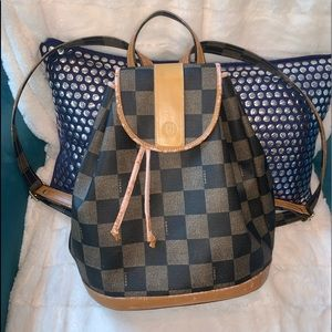 Authentic FENDI LOGO Check Mid-Size Backpack Purse